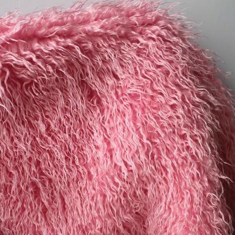 Rosa mongol rizado oveja tela de piel sintética Faux chaleco abrigo - Artes, artesanía y costura