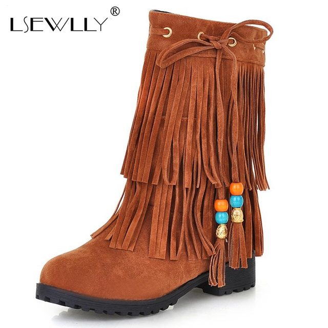 Lsewilly Shoes Woman Botas Fashion Snow Boot Tassel High-quality Waterproof Wedges Knee-high Slip-resistant 2017 hot LCL006