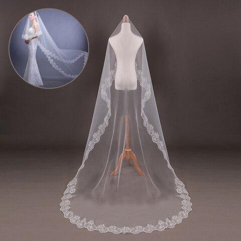 Elegant Wedding Accessories 2.6m White Long Lace Edge Veil Bridal Wedding Headdress Cathedral Wedding Veil Lahore