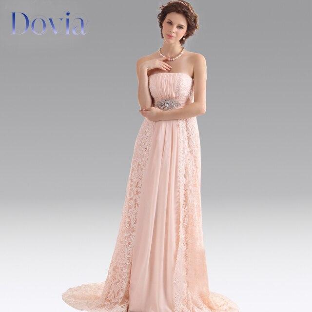 Simple elegante vestidos noche largo sin tirantes rosa de encaje y ...