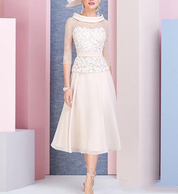 2019 Pale Pink A-Line Scoop Neck 3/4 Sleeves Tea Length Mother Of The Bride Dress Plus Size Vestido Mae Da Noiva