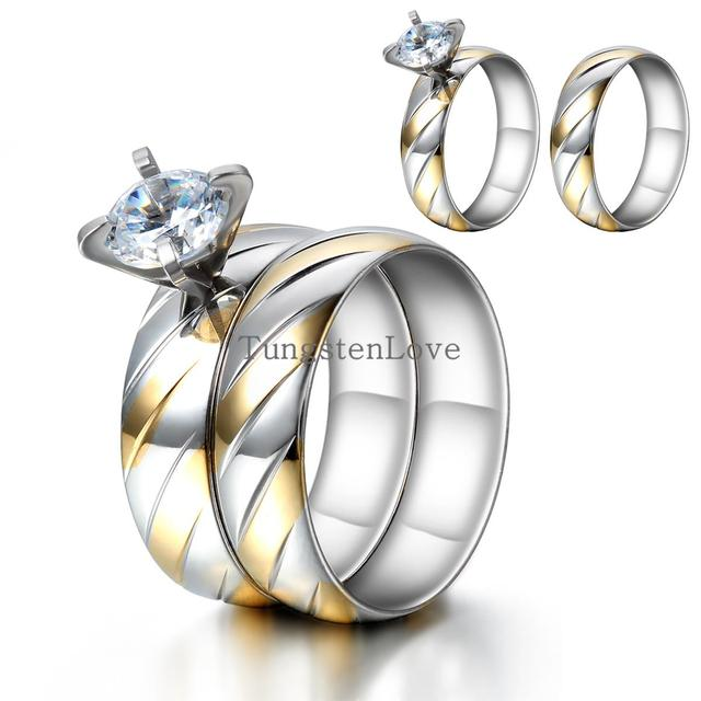 316L Stainless Steel CZ stone Fashion Wedding set Rings Double rings