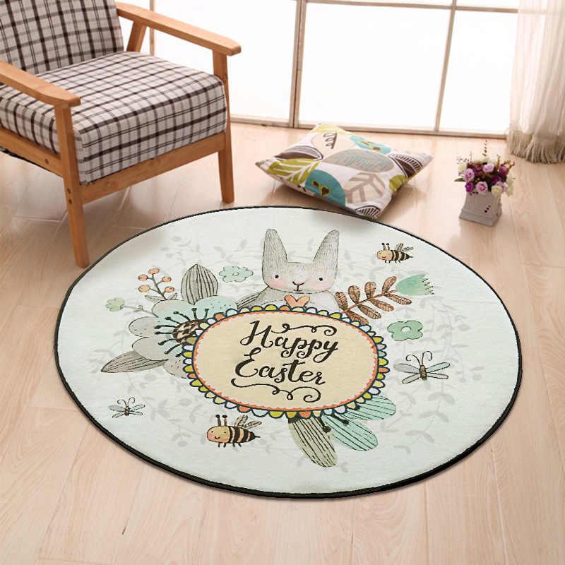 Мультфильм кролик Печатный круглый ковер для гостиной компьютер подушка для стула зона ковер детей детской играть напольный, для палатки ковер одеяло