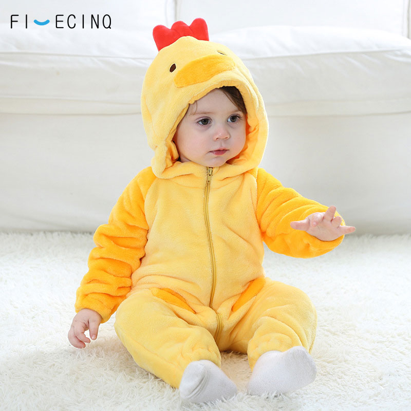 Lovely Yellow Chick Kigurumis Baby Cosplay Costume Child Winter Warm Soft Flannel Animal Onesie Boy Girl Romper Funny Fancy