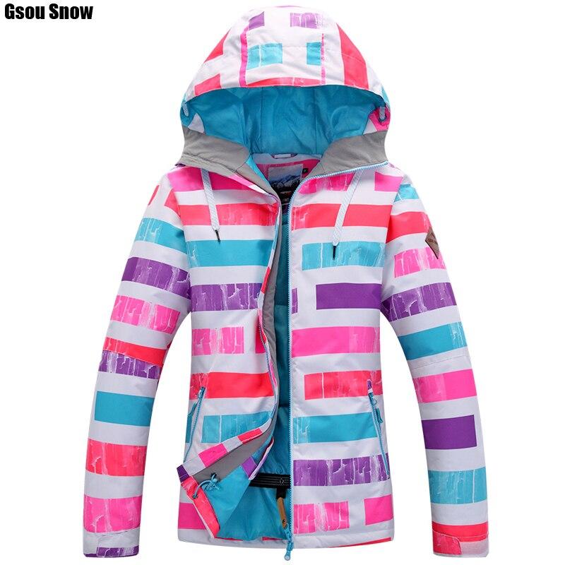 Prix pour Gsou SNOW femmes Snowboard ski vestes de neige manteau sports de Plein Air vêtements de ski Épaissir super chaud vêtements waterproof-30 degrés Russie