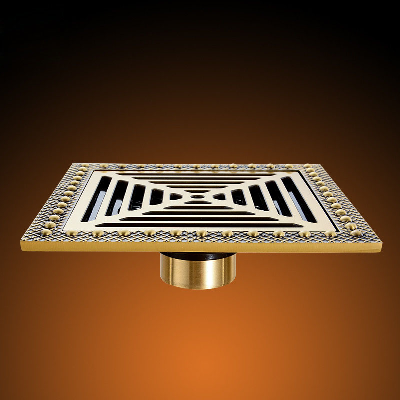 Free Shipping Modern 15cm x 15cm Bathroom Shower Floor Drain Washer Waste Drain Antique Brass цена