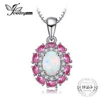 JewelryPalace 0.9ct Oluşturulan Kadınlar Için Beyaz Opal Pembe Safir Kolye 925 Gümüş Düğün Takı Zincir Dahil Değil
