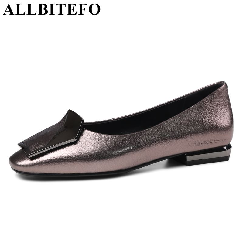 ALLBITEFO large size 34 43 genuine leather thick heel women pumps spring office ladies shoes girls