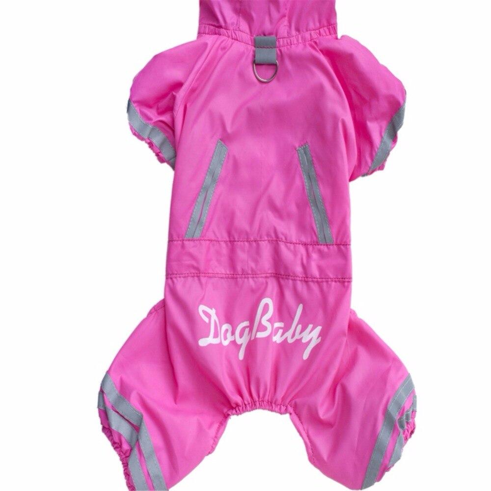 Primavera Verano perro mascota impermeable chaqueta de 4 piernas botón impermeable para perros ropa