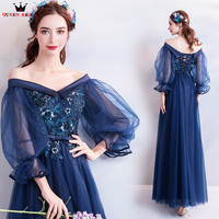 A line Tulle Flowers Beading Long Formal Blue Evening Dresses 2018 New Design Prom Party Dress Evening Gowns Robe De Soiree NT54