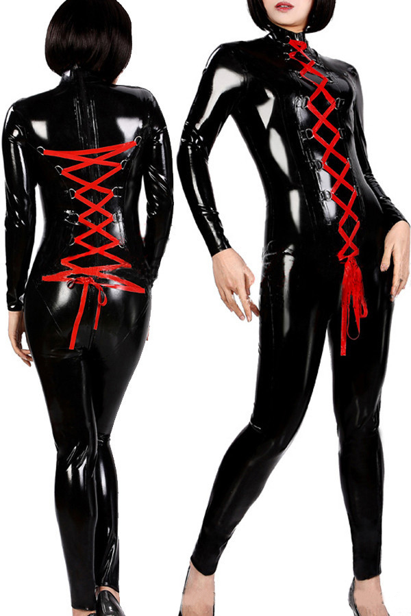 Vocole Sexy Wet Look Clubwear PVC Vinyl Catsuit Teddy Jumpsuit Faux Leather Latex Fetish Exotic Long Sleeve Bodysuit Adult women