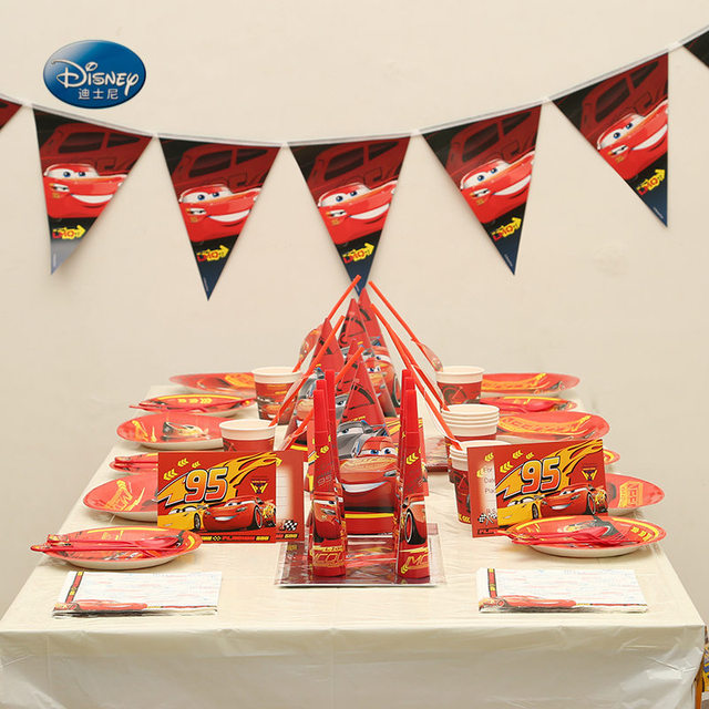 For 12People Disney Cars Theme 119Pcs Cup Plate Napkins Party Set Birthday Supplies Decorations Kids Boys Tableware