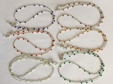 6 pieces/lot assorted colored fresh water pearl and glass beaded eyeglass chain retainer holder