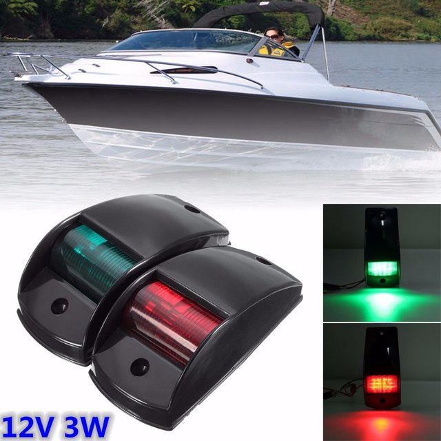 A Pair Touring Car Navigation Lights Port/Starboard Black White LED Lamp Housing Marine Boat 12V DC Plastic Touring Car