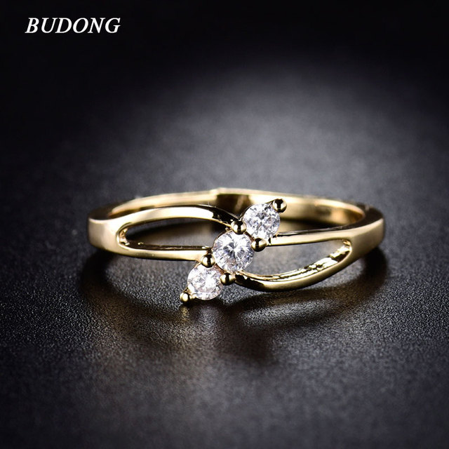 BUDONG 2017 Fashion Simple Crystal Rings for Women Gold-Color Midi Ring for Women Cubic Zirconia Hollow Engagement Bands XUR029