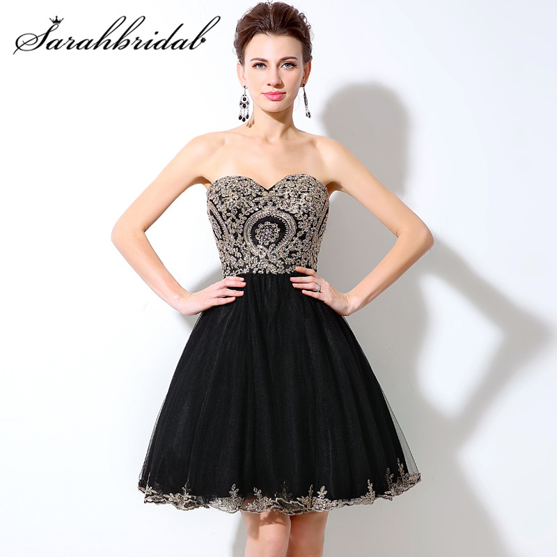 2017 Short Black Prom Dresses Sleeveless Beaded Gold Lace A Line