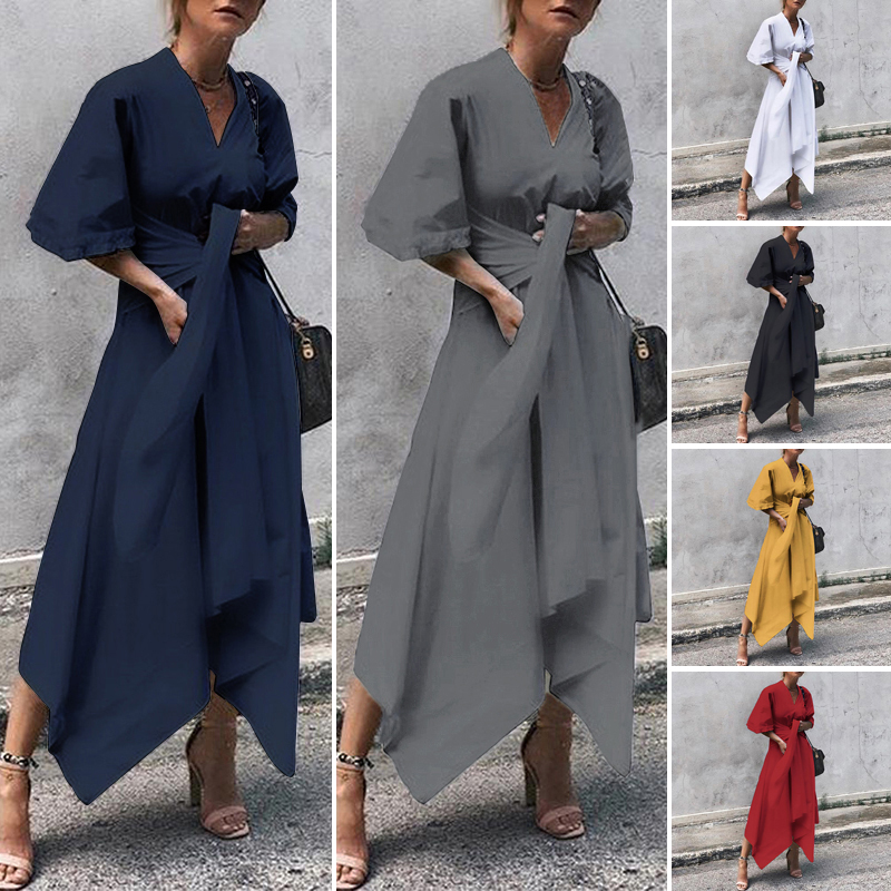VONDA Summer Dress 2019 Women Vintage Sexy V Neck Asymmetrical High Waist Long Maxi Dress Plus Size OL Sundress Party Vestido