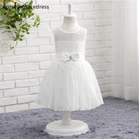 Forevergracedress Real Photos White Flower Girl Dress Cute Sleeveless Lace With Sashes Bow Kids Children Gown