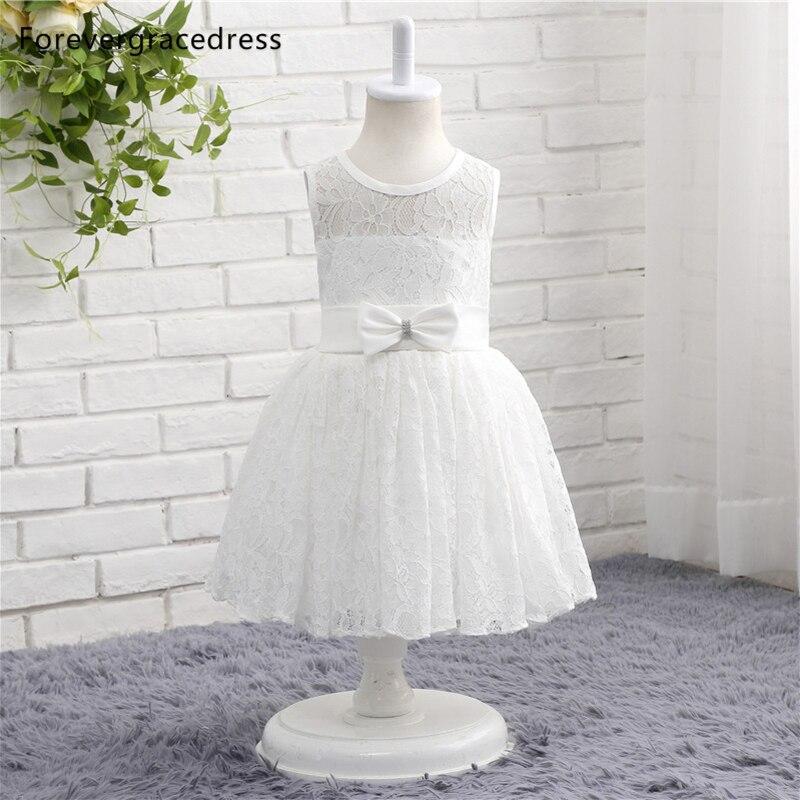 Forevergracedress vraies Photos blanc fleur fille robe mignon sans manches dentelle avec ceintures arc enfants enfants robe
