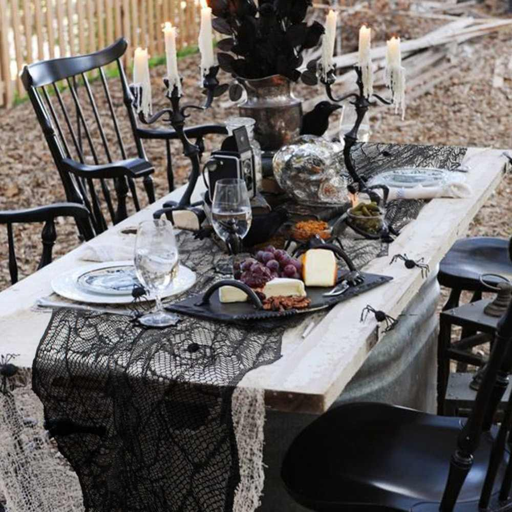 OurWarm Halloween Party Black Spider Leaf Lace Table Runners Tablecloth Haunted Home Horror Halloween Decorations 188*55cm