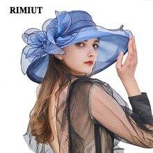 Rimiut mujeres 2018 verano malla Floral sombrilla playa sol sombrero mujer  ala ancha gorra boda fiesta 6225b602ed5