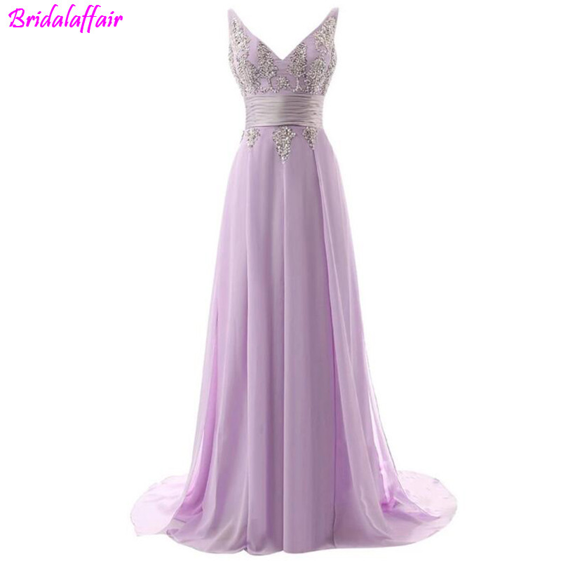 Deep V-neck Chiffon Vintage Formal Evening   Dress   2019 A-line Lace   Prom   Gown Criss Cross Strap Back Sequined Beaded   Prom     Dress