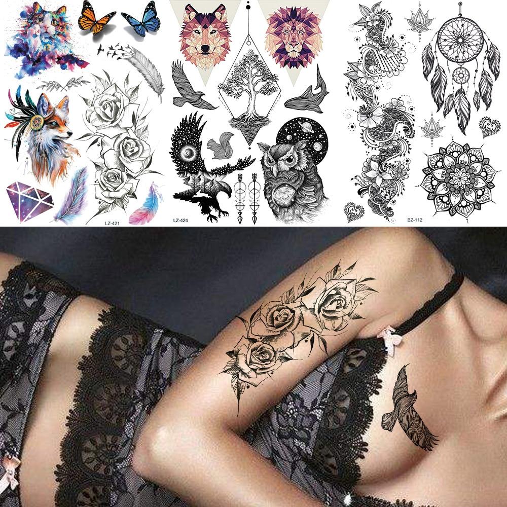FANRUI Sexy Sketch Rose Women Temporary Tattoo Sticker For Men Body Art Henna Tatoo Paper Triangle Lion Wolf Waterproof Tattoos