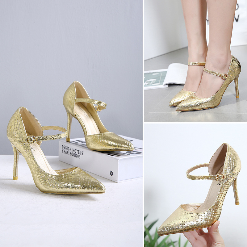 2017 Autumn New Women's Shoes Europe And The United States Wind Pointed Shallow Mouth Thin High-heeled Word Single Shoes europe and the united states 2015 new spring shoes and high heeled shoes asakuchi pointy suede 35 41 code