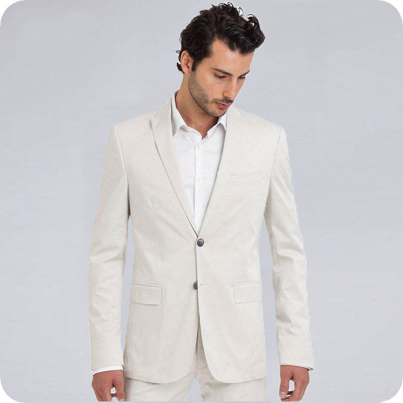 Beige Men Suits Groom Beach Wedding Tuxedos Prom Suits Classic Man Blazer Costume Homme Slim Fit Terno Masculino 2 Piece Party