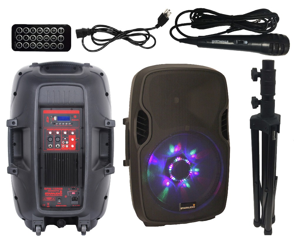 STARAUDIO Pro PA DJ Powered/Active 15″ 2500W Stage Speaker W/ USB SD BT FM LED RGB Light SPW-15RGB