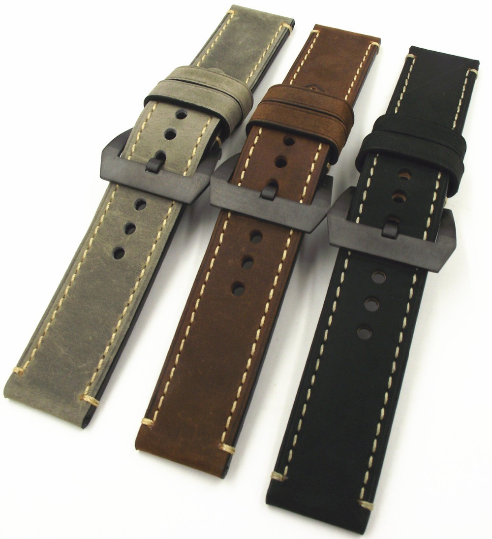 Wholesale 10PCS/lot 20MM 22MM 24MM 26MM genuine leather Crazy horse leather Watch band watch strap man watch straps black buckle поляризационные очки shimano tribal