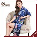 Long Peacock satin kaftan abaya Nightdress Japanese Kimono Robe bathrobe Dressing Gown LR007