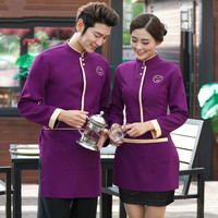 Uniformes Chef Costumes Stylish Coffee Bakery Uniform Coats for Womens Hotel Catering Waiters Apparel Free Shipping