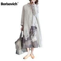 Borisovich New 2017 Autumn Fashion Vintage Print Double Pocket Cotton Line Women Loose Casual Long Shirt