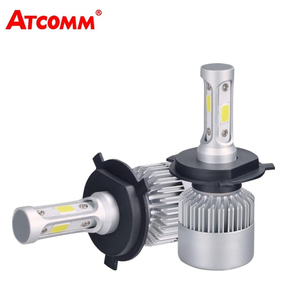 ATcomm 2 pcs LED H7 Voiture Phare H1 H4 Salut-lo H11 H8 H9 9005/HB3 9006/ HB4 12 v 24 v COB 6500 k 8000Lm 72 w Auto LED Lampe de Glace