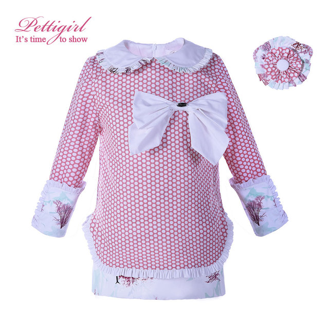 301d2cef316 Pettigirl Wholesale Pink Baby Girl Dress Polka Dot Tree Printed Full Sleeve  Stright Dress Kids Clothing G-DMGD006-B58