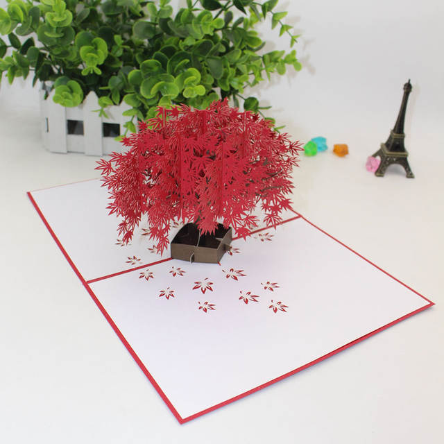 Us 3 95 50 Off 3d Laser Cut Handmade Red Maple Tree Paper Invitation Greeting Cards Postcard Business Teachers Day Creative Gift In Cards