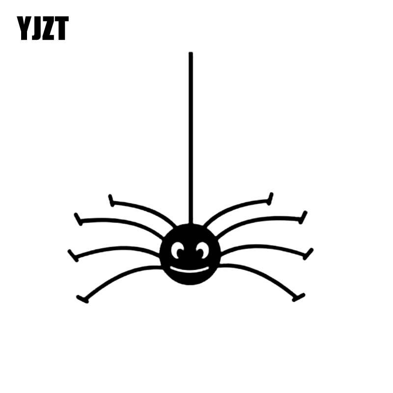YJZT 15.1CM*15.3CM Spider Vinyl Decal Car Sticker Halloween Decor Black/Silver C19-0275