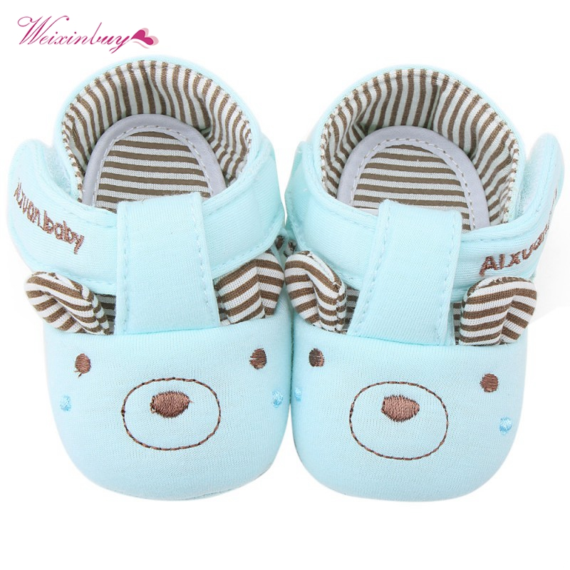 4 Patterns Soft Sole Cotton Baby Shoes Cat Elephant Bear Face Newborn Girls Boys First Walker Toddler Prewalker Size 11 12 13