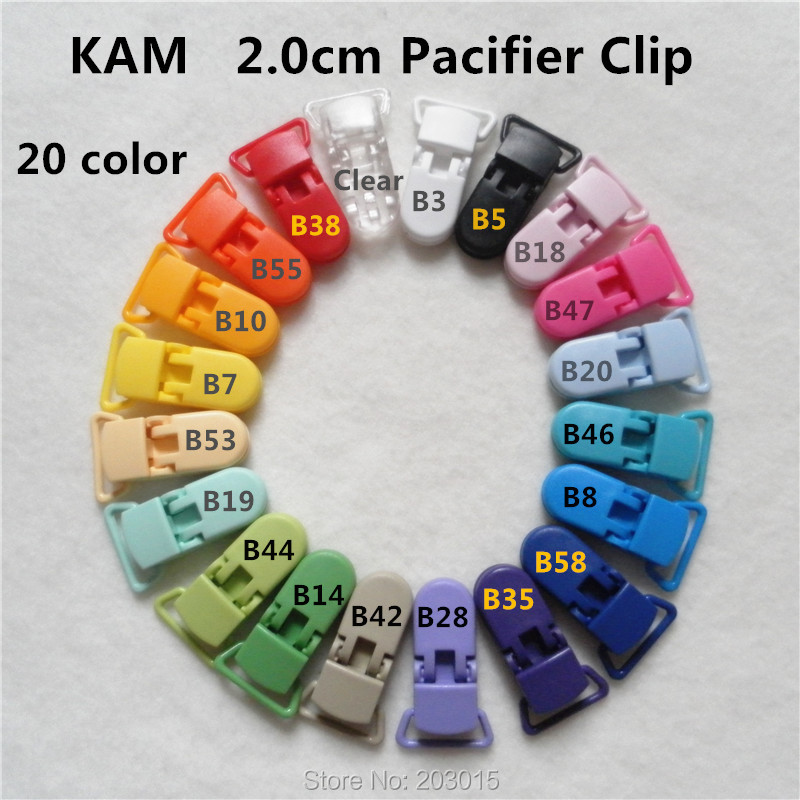 (20 Color ) DHL 1000pcs 2.0cm KAM Plastic D Baby Dummy Pacifier Chain Holder Clips Alligator Suspender Clip For 20mm Ribbon