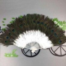 Элегантный Ручной Веер с принтом в виде Павлиньего пера для украшения дома