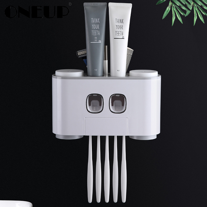 ONEUP Automatic Toothpaste Dispenser Dust-proof Toothbrush Holder With Cups No Nail Wall Stand Shelf Bathroom Accessories Sets