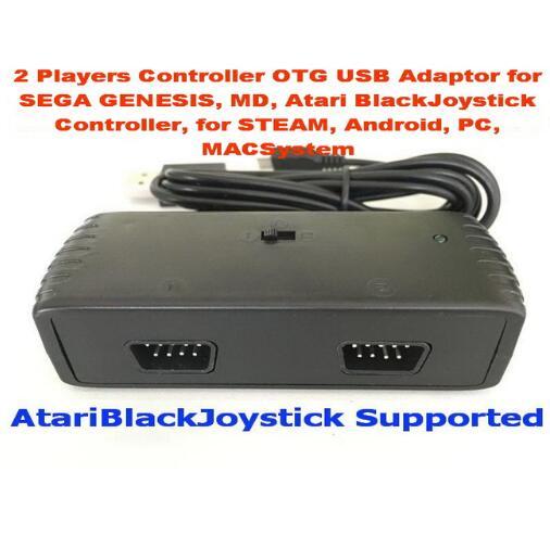 2 Players Controller OTG USB Adaptor for SEGA GENESIS MD Atari BlackJoystick Controller for STEAM Android