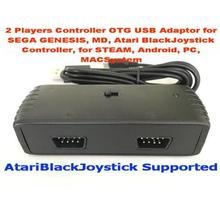 2 игроков контроллер OTG USB адаптер для Sega Genesis, md, Atari blackjoystick контроллер, для пара, android, PC, macsystem