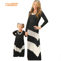 Family Matching Outfits Mother Daughter Dresses 2017 Contrast Color Black And White Stripes Dress Girl Kids