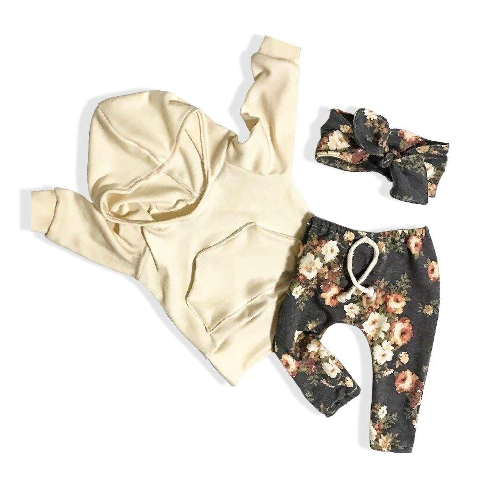 Oklady Baby Girl Clothes Long Sleeve Hoodie Sweatshirt Floral Pants With Headband Outfit Sets
