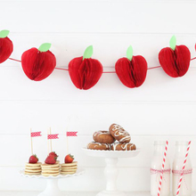 10pcs Mini Honeycomb Paper Apple Hanging Decor Tissue Fruit Teacher Appreciation Week Back to School
