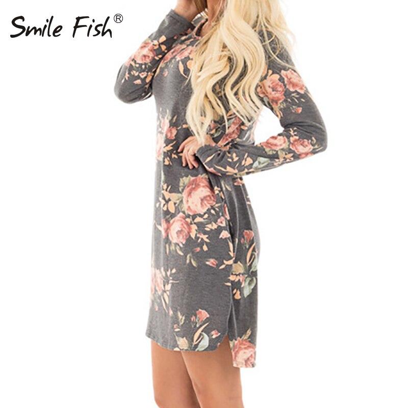 2018 Female Long Sleeve Mini Dresses Party Dress Cotton Casual Women Autumn Floral Printed Dress Plus Size New GV845