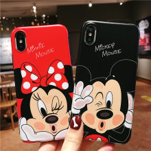 ddd07bdf6c9 Minnie Mickey Mouse caso para iPhone 6 6 S 7 8 Plus XS Max mate Conque para  iPhone 7 5 5S SE silicona suave Funda para iPhone X ..