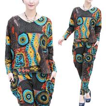New 2016 Spring Cotton Casual ethnic printed suit women tracksuits 2 piece women's sets High Quality suit plus size AW508